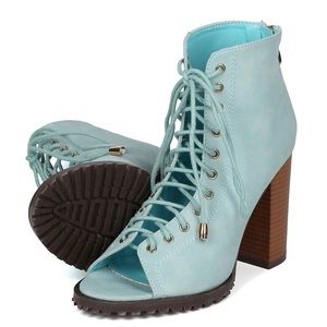 NEW adorable lace up style booties in powder blue!